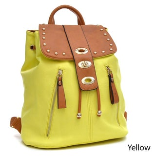 Dasein Two-Tone Studded Flap-over Drawstring Backpack (Option: Yellow)