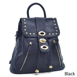 Dasein Two-Tone Studded Flap-over Drawstring Backpack (Option: Black)