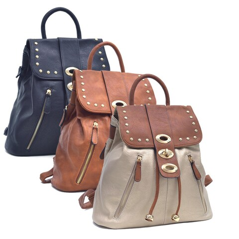 Dasein Two-Tone Studded Flap-over Drawstring Backpack