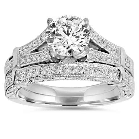 14k White Gold 2 ct TDW Clarity Enhanced Diamond Vintage Engagement Wedding Ring Set
