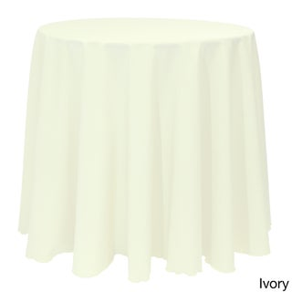 Solid Color 132-inches Round Vibrant Tablecloth (Option: Ivory)