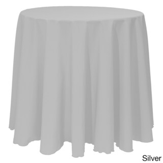 Solid Color 132-inches Round Vibrant Tablecloth (Option: Silver)