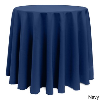Solid Color 132-inches Round Colorful Tablecloth (Option: NAVY)