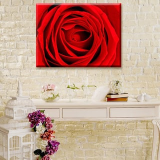 Abstract Rose Rouge' Floral Wrapped Canvas Wall Art