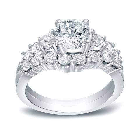 Auriya 14k Gold 3 carat TW Round Diamond Engagement Ring Set