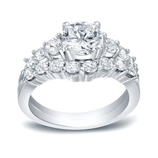 Auriya 14k White Gold 3ct TDW Certified Round-Cut Diamond Bridal Ring Set