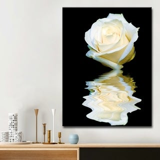 Abstract Rose Blanc' Floral Wrapped Canvas Wall Art