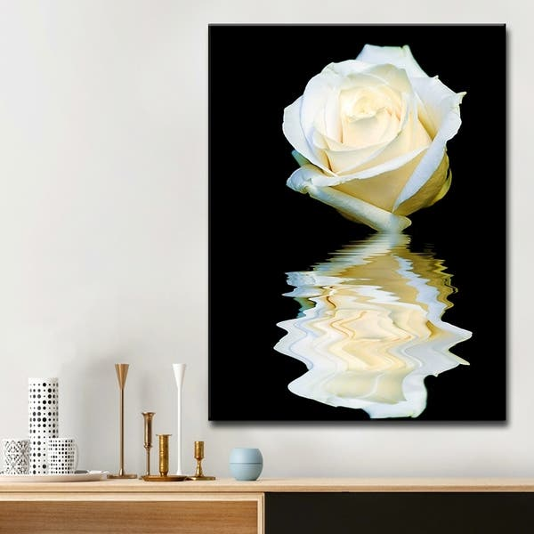 Shop Abstract Rose Blanc Floral Wrapped Canvas Wall Art