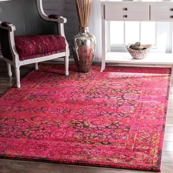 Shop Nuloom Traditional Persian Fancy Aqua Rug: Shop NuLOOM Traditional Vintage Modern Cherry Pink Rug