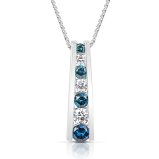 Suzy Levian 14k White Gold 0.5ct TDW Blue and White Diamond Graduating Pendant Necklace (H-I, SI1-SI2)