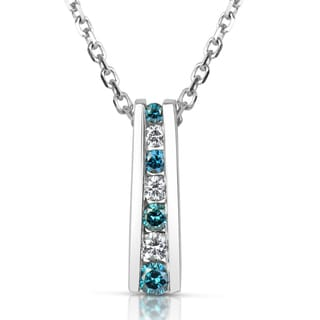 Suzy Levian 14k White Gold .25ct TDW Blue and White Diamond Graduating Pendant Necklace (H-I, SI1-SI2)