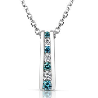 Suzy Levian 14k White Gold .25ct TDW Blue and White Diamond Graduating Pendant Necklace