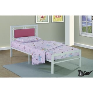 Metal Frame White/Pink Bed