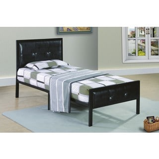 Metal Frame Black Low Profile Upholstered Bed
