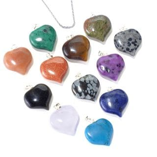 Sterling Silver 12-piece Heart Gemstone Interchangeable Pendant Necklace