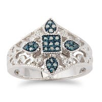 Sterling Silver 0.25ct TDW Blue and White Diamond Square Ring