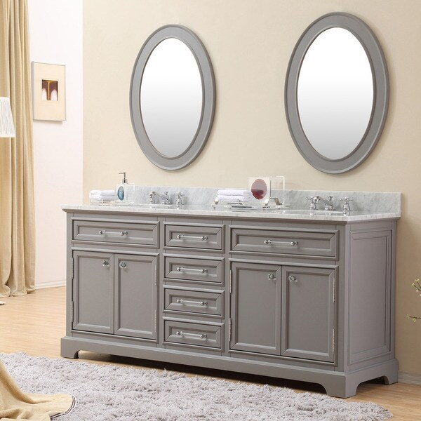 Water Creation Derby 72 Inch Cashmere Grey Double Sink Bathroom Vanity