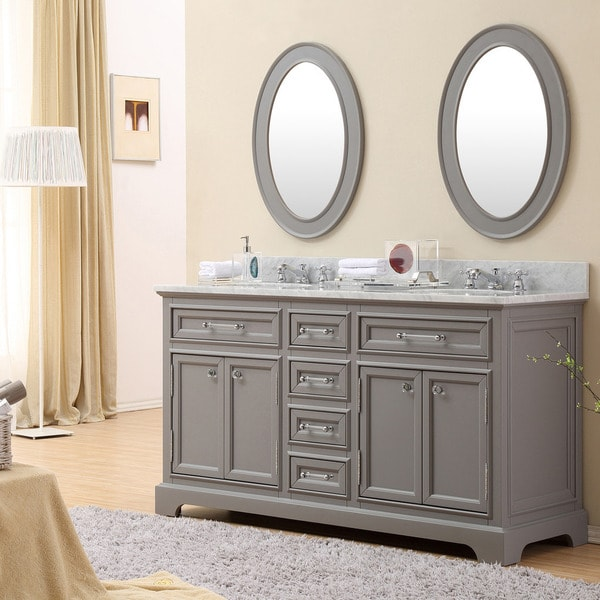 Captivating Water Creation Derby 60 Inch Cashmere Grey Double Sink Bathroom Vanity