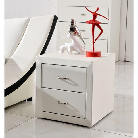Riley White Faux Leather Modern Night Stand