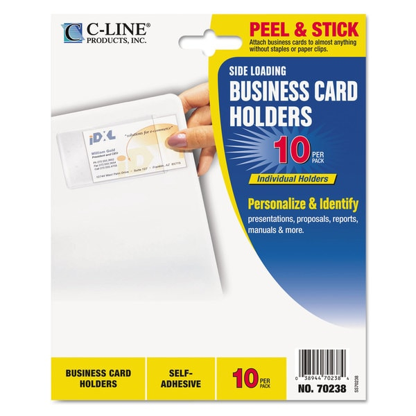 Shop C Line Self Adhesive Clear Business Card Holders 5 Packs Of 10