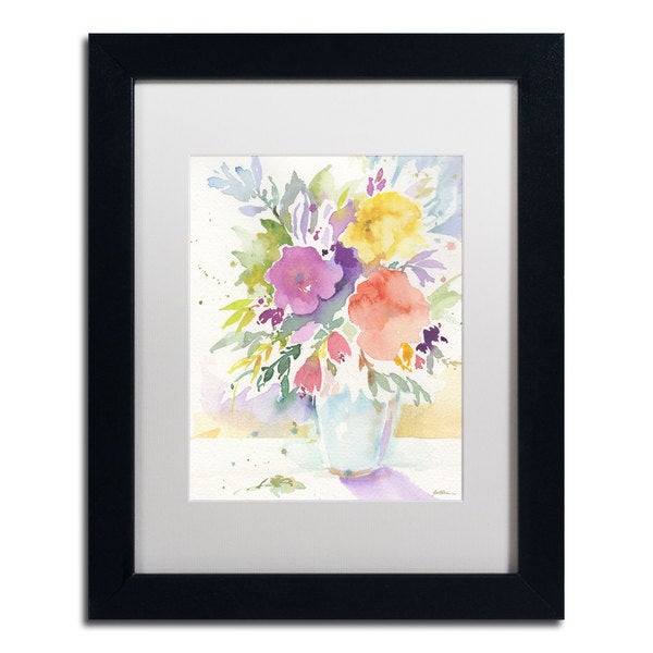 Sheila Golden 'Vase with Bright Blooms' Matted Framed Art