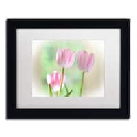 Lois Bryan 'Three Pink Tulips' Matted Framed Art