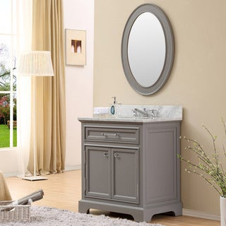 water creation derby 30 inch cashmere grey single sink bathroom vanity with matching framed mirror