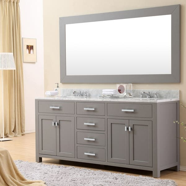 Madison 72 Inch Cashmere Grey Double Sink Bathroom Vanity Overstock 10222954 Vanity With 1 Mirrors