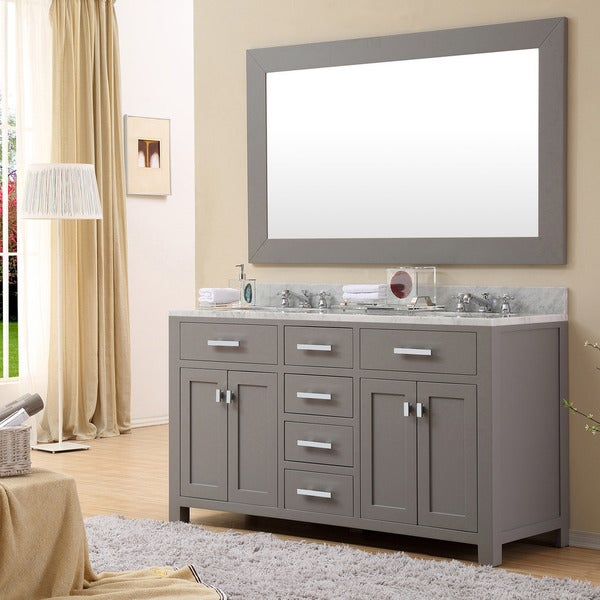 Water Creation Madison 60 Inch Cashmere Grey Double Sink Bathroom Vanity