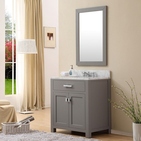 Water creation madison 30 inch cashmere grey single sink for Gray 30 inch bathroom vanity