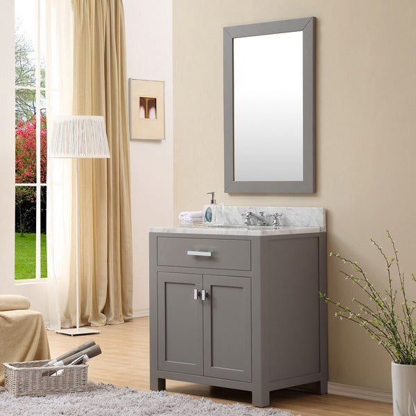 Water creation madison 30 inch cashmere grey single sink bathroom vanity free shipping today for 30 inch bathroom vanity with sink