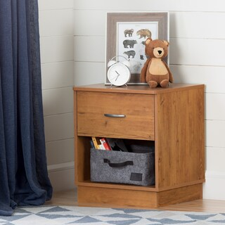 South Shore Logik 1-Drawer Nightstand (Option: Tan - country pine - Traditional/Country/Rustic)