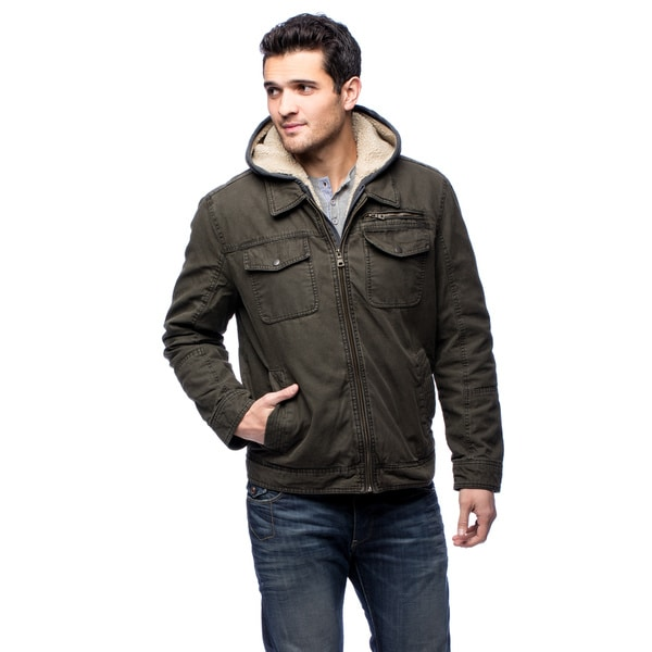 Gh bass mens gh5mc504 fleece hoodie polyester lined jacket for Polyester lined flannel shirts