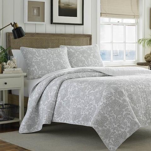 Tommy Bahama Island Memory Cotton Reversible Grey Quilt Set