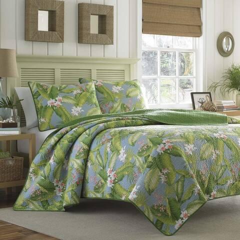 Tommy Bahama Aregada Dock Cotton Reversible Blue Quilt Set