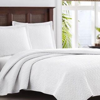 Tommy Bahama Chevron White 3 Piece Quilt Set