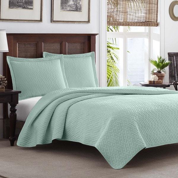 Tommy Bahama Chevron Harbor Blue 3-piece Quilt Set