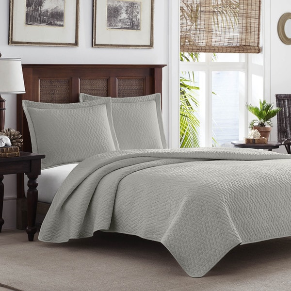 Tommy Bahama Pelican Gray Chevron 3-piece Quilt Set