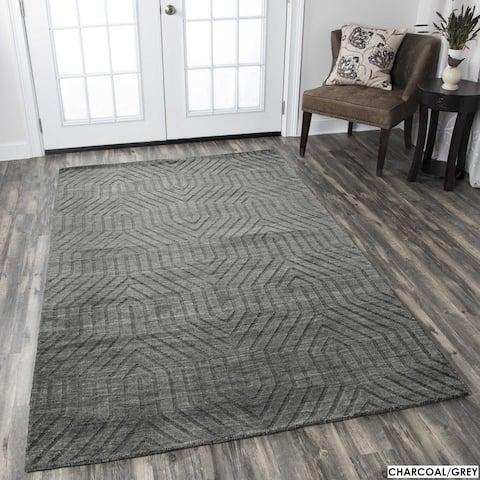 Technique Blue/ Grey/ Beige/ Burgundy/ Brown Wool Accent Rug (9' x 12')