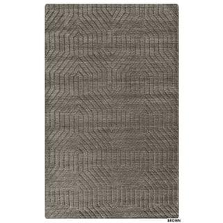 Technique Blue/ Grey/ Beige/ Burgundy/ Brown Wool Accent Rug (9 x 12) (9 x 12 - Brown)