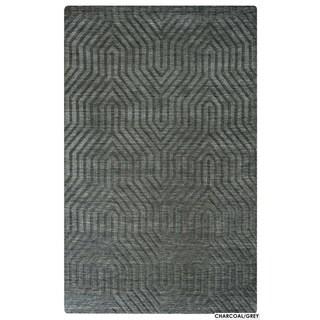 Technique Blue/ Grey/ Beige/ Burgundy/ Brown Wool Accent Rug (9 x 12) (9 x 12 - Grey)