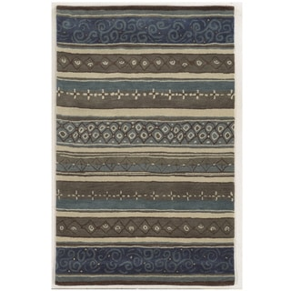 Bradberry Downs Grey/ Blue/ Beige/ Taupe/ Brown Wool Accent Rug (9' x 12')