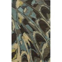 Bradberry Downs Beige/ Grey/ Charcoal/ Gold/ Aqua/ Teal Wool Accent Rug - 9' x 12'