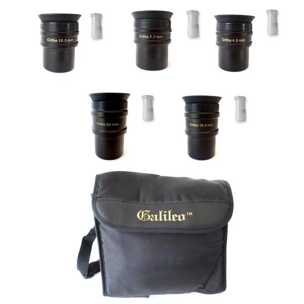 Set of 5 Orthoscopic 4 Element Eyepiece Set + Shoulder Case