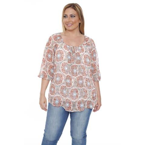 White Mark Women's Plus Size 'Desiree' Orange Chiffon Blouse