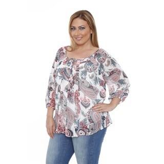 White Mark Women's Plus Size 'Desiree' Teal/ Red Chiffon Blouse
