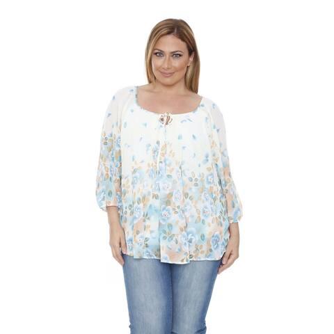 White Mark Women's Plus Size 'Desiree' Ivory/ Blue Chiffon Blouse