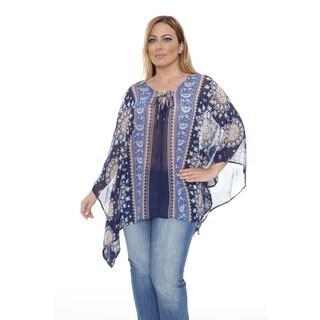 White Mark Women's Plus Size 'Breeze' Navy/ Royal Poncho Top Tunic