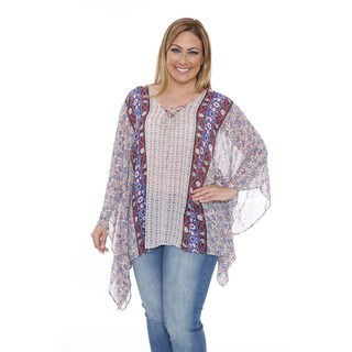 White Mark Women's Plus Size 'Breeze' Blue/ Red Poncho Top Tunic