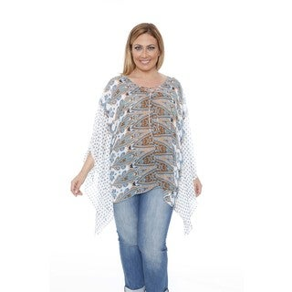 White Mark Women's Plus Size 'Breeze' Blue/Orange Poncho Top Tunic